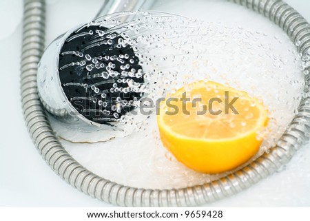 shower, limon and drops - stock photo