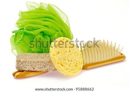 Shower Puff, pumice and massage brush isolated on white background - stock photo