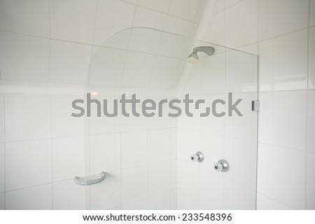 Shower with glass divide in the bathroom