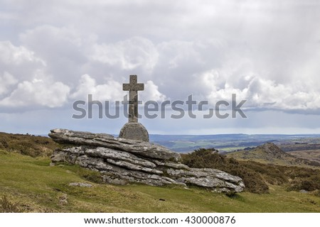 Showing a old Memorial cross from world war one, on Dartmoor by Poundsgate and Dartmeet