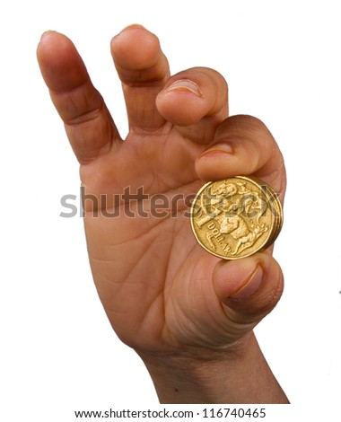Showing Australian one dollar coins in hand