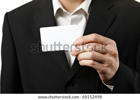 showing blank business card - stock photo