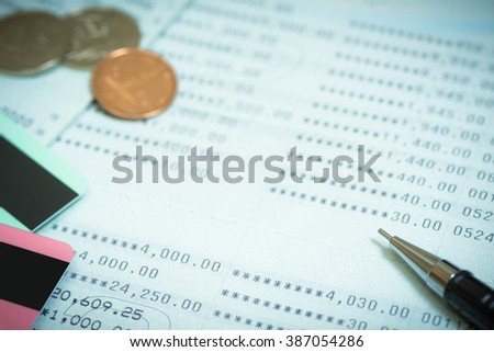 showing business and financial transaction / investment background / loan and budget pay monthly spreadsheet background - stock photo