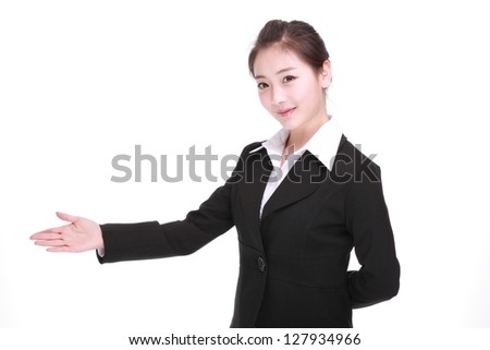 Showing businesswoman isolated on white - stock photo