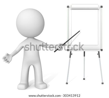 Showing. Dude the Business 3D characters pointing at blank Flip Chart. Copy Space.