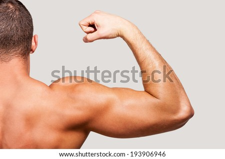 Showing his perfect bicep. Rear view of young muscular man showing his bicep on one hand while standing against grey background