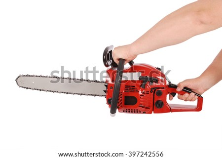 Showing how to work with chainsaw isolated on white - stock photo