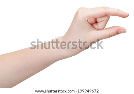 showing little size - hand gesture isolated on white background