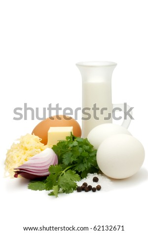 Shows a set for making an omelete with grated cheese. Isolated on a white background.