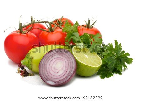 Shows a set of products for cooking sauce - salsa. Isolated on a white background.