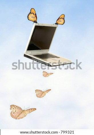 Shows the portability of today's laptops. Lightweight and slender, you can be on-line anywhere. - stock photo