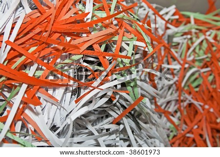 Shredded Confidential Office Document Papers for Recycling