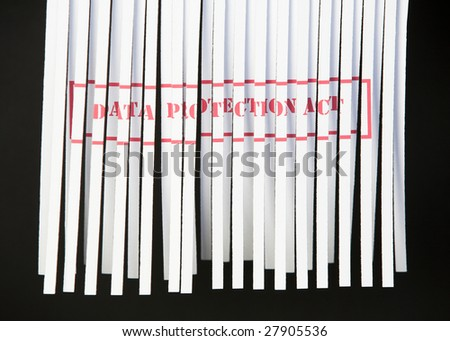 Shredded document with Data Protection Act printed in red - stock photo