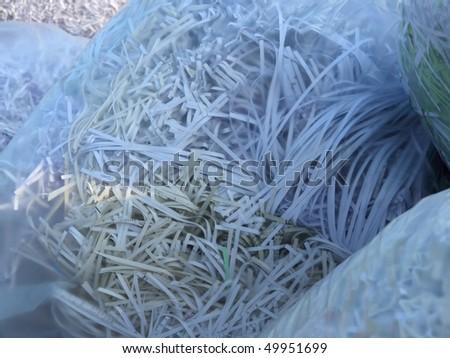 shredded  paper in garbage sacks - stock photo
