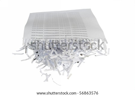 Shredded paper, security white pile - stock photo