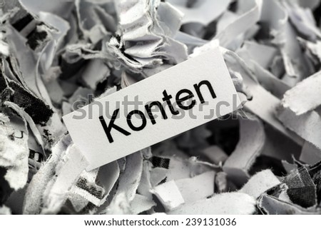 shredded paper tagged accounts, symbolic photo for finance, accounting and double-entry bookkeeping - stock photo
