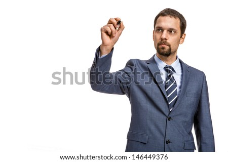 shrewd entrepreneur describes ... -/ attractive man in an expensive suit is going to write - isolated on white background  - stock photo