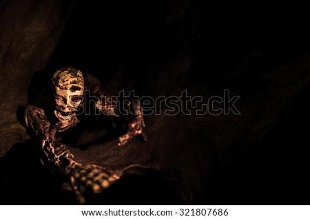 Shrill Zombie Skeleton in Halloween Night Background Texture - stock photo