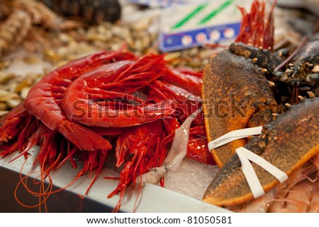 shrimp and other seafood on local market