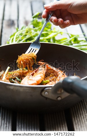 shrimp baked with vermicelli  vegetable  sauce asian style food - stock photo
