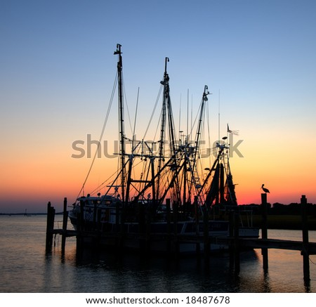 Shrimp Boat with Pelican