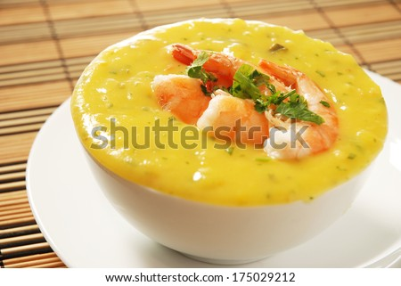 shrimp bobo - a Brazilian dish of shrimp in a pur��?���©e of manioc meal and coconut milk - stock photo