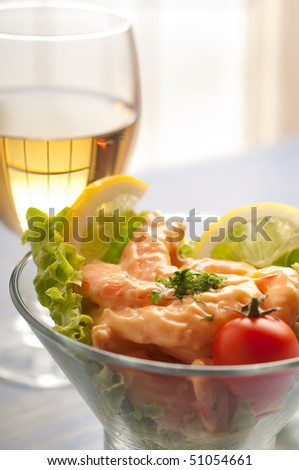 shrimp cocktail and wine - stock photo