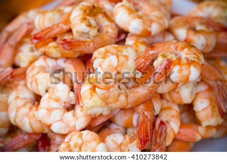 Shrimp cocktail background with a close up view of a group of fresh deliciousdinner  - stock photo