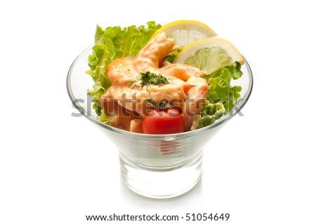 shrimp cocktail on white - stock photo
