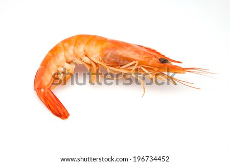 shrimp cooked on a white background