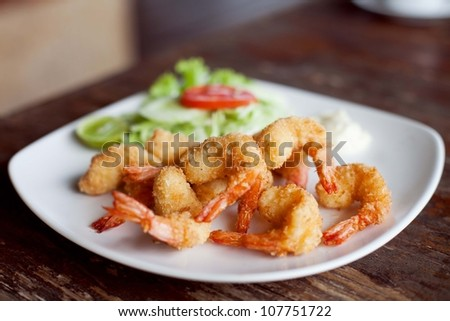 shrimp deep fried - stock photo