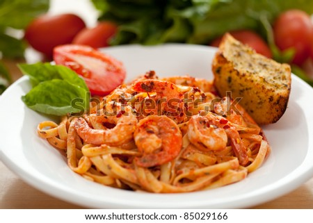 Shrimp Fettucini - stock photo