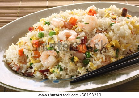 Shrimp fried rice. Part of a series of nine Asian food dishes. - stock photo