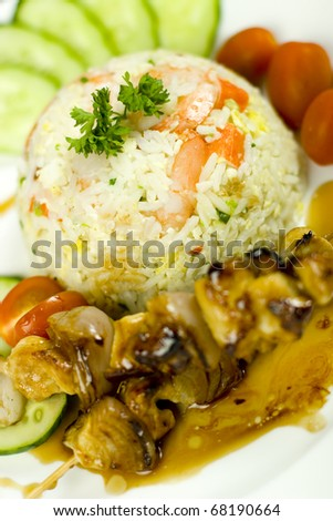 shrimp  fried rice with chicken stick close up - stock photo