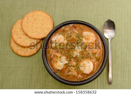 shrimp gumbo with crackers for a creole meal - stock photo