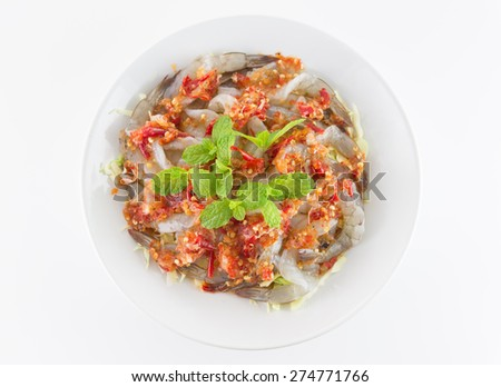 shrimp in fish sauce isolated on white background - stock photo