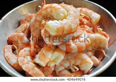 Shrimp King Prawn on pan - stock photo