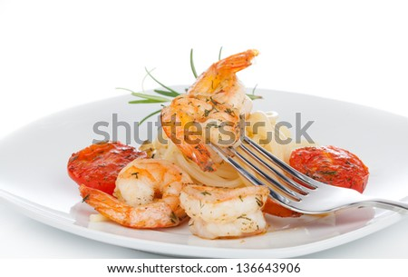 Shrimp Linguine with Pasta. Focus on shrimp. - stock photo
