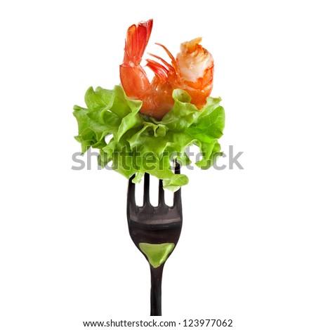 shrimp on fork isolated on white - stock photo