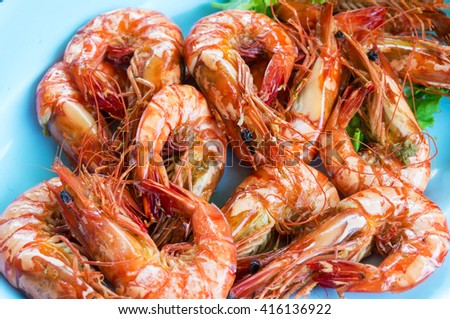 Shrimp or Prawn Baked with Salt in Plate, Closeup or Macro shot - stock photo