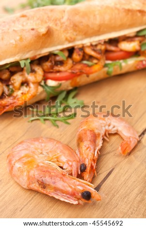 Shrimp Po-Boy sandwich - stock photo