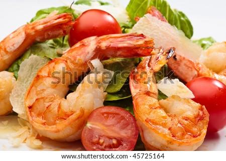 Shrimp salad isolated in studio - stock photo