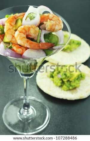 shrimp salad, red onion and avocado