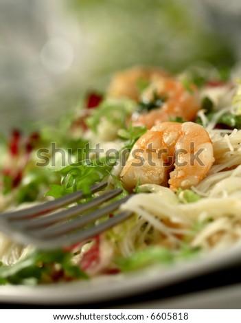shrimp salad - swallow DOF - stock photo