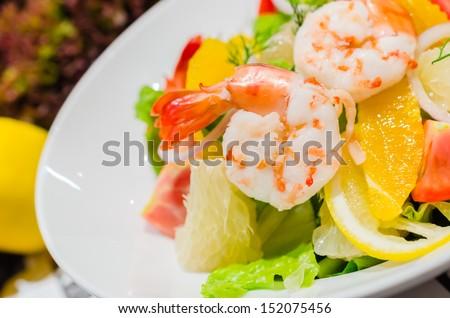 Shrimp salad with vegetable - stock photo