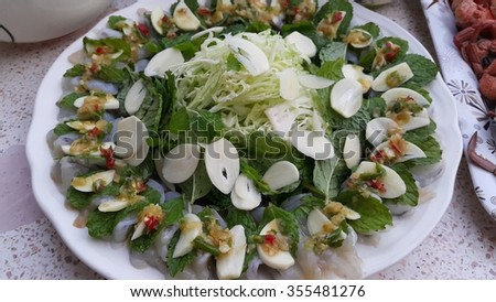 Shrimp sauce ingredients as follows: Vegetables, cabbage, mint, garlic pepper sauce seafood sauce of Thailand. - stock photo
