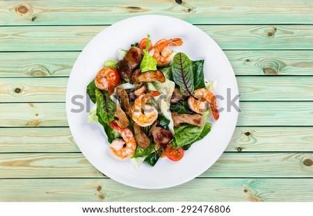 Shrimp, seafood, dish. - stock photo