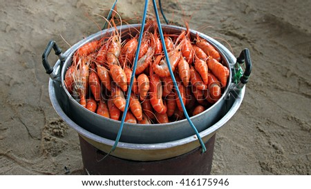Shrimp steamed sell on sea beach - stock photo