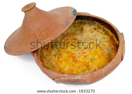 "Shrimp stew in a mud pot (Bahia - Brazilian typical food : ""Moqueca de Camarao"")"