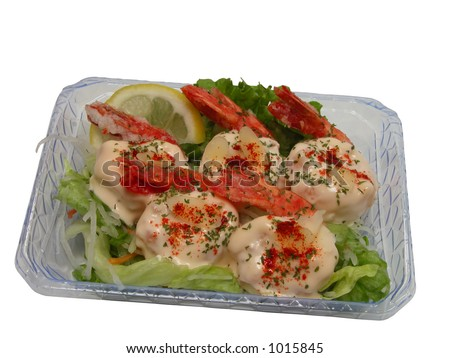 Shrimp with mayonnaise in a casserole isolated over white background with clipping path
